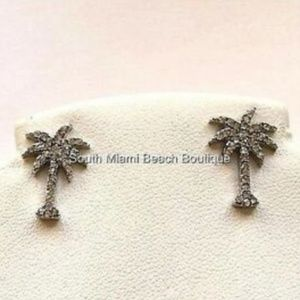 Silver Crystal Palm Tree Earrings Pierced  Post